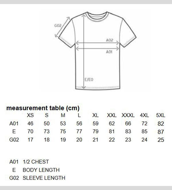 groessentabelle t-shirt 76
